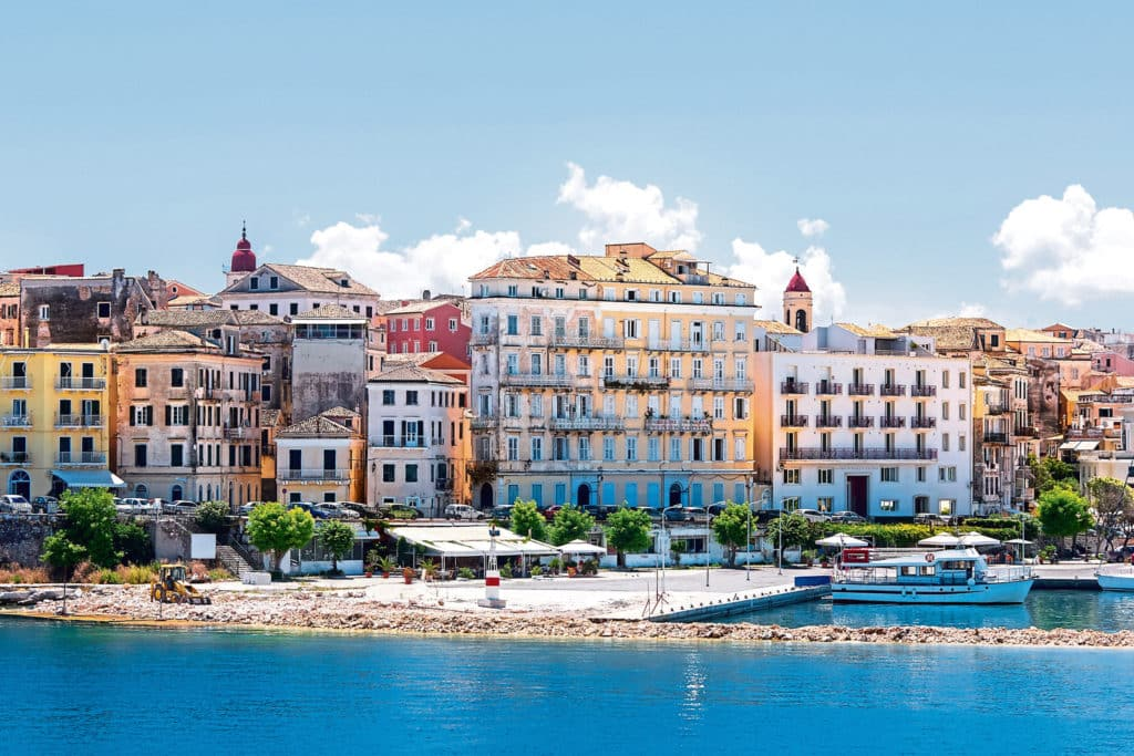 A view of Corfu Town, the capital of the island of Kerkyra, or Corfu, seen from the sea